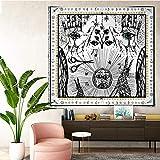 KHKJ Tapices de Tarot Sun Star Moon Tapiz Colgante Hippie Manta Colgante de Pared Alfombra de Pared Estera de Yoga Decoración del hogar A3 95x73cm