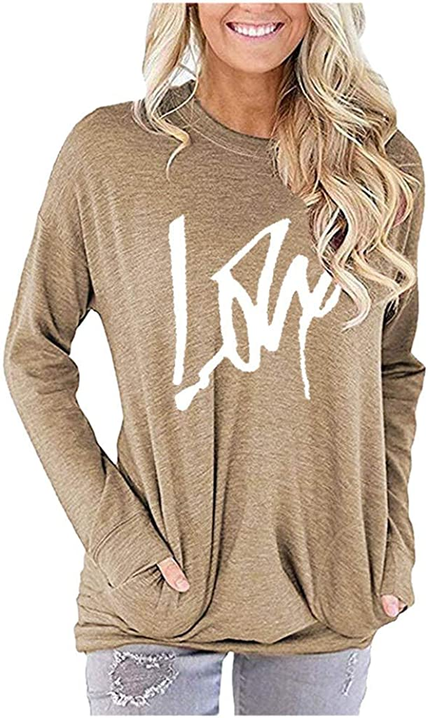 POTO Tops for Womens Letter Print T-Shirts Tops Cround Neck Long Sleeve Pullover Sweatshirt Casual Blouse with Pocket