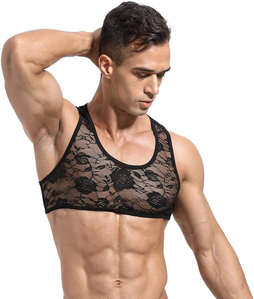 Men's Sissy Lace Floral Omaha Mall Muscle Tank Undershi Mesh Top Neck Superlatite Round