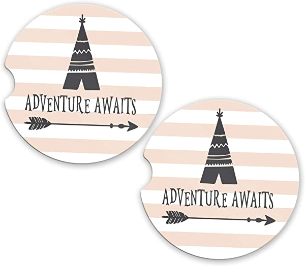 Car Coasters Adventure Awaits SET Of 2 2 56 X 0 30 Cup Holder Set Inspirational Quote Cute Graduation Gift Car Accessories For Women