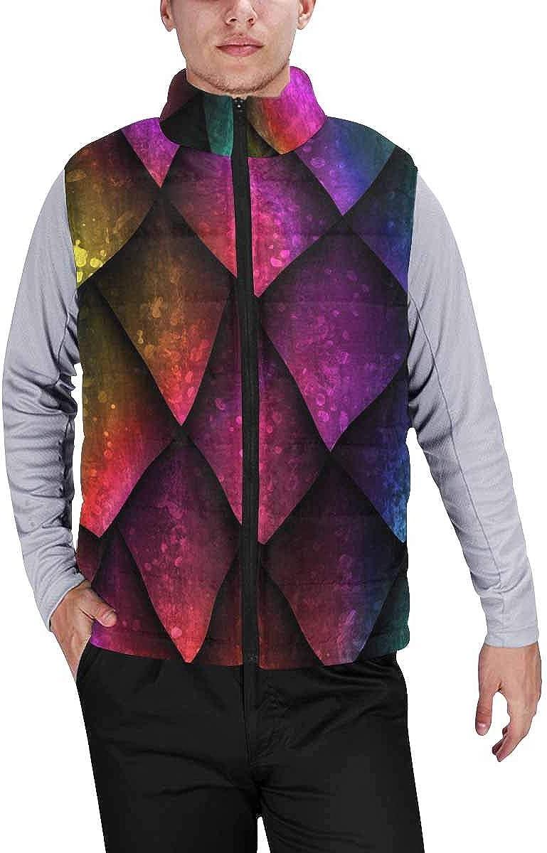 InterestPrint Men's Winter Lightweight Sleeveless Padded Vest Dots Geometric Triangle Pattern