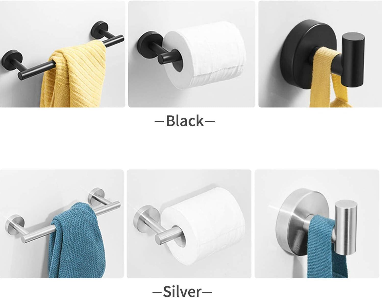 3-Piece Bathroom Towel Bar Set Black Wall Mount Stainless Steel Bathroom Towel Rack Toilet Paper Holder and Robe Hook