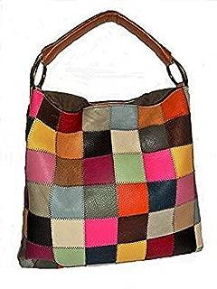 Leather Multicolor Patchwork Shoulder Handbag Purse Bag