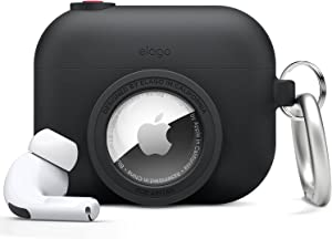 elago Snapshot Cover Compatible with Apple AirPods Pro, Compatible with AirTags [Black] - Cute Classic Camera Design, Locator Case, Drop Protection, Key Ring Included - Tracking Device Not Included