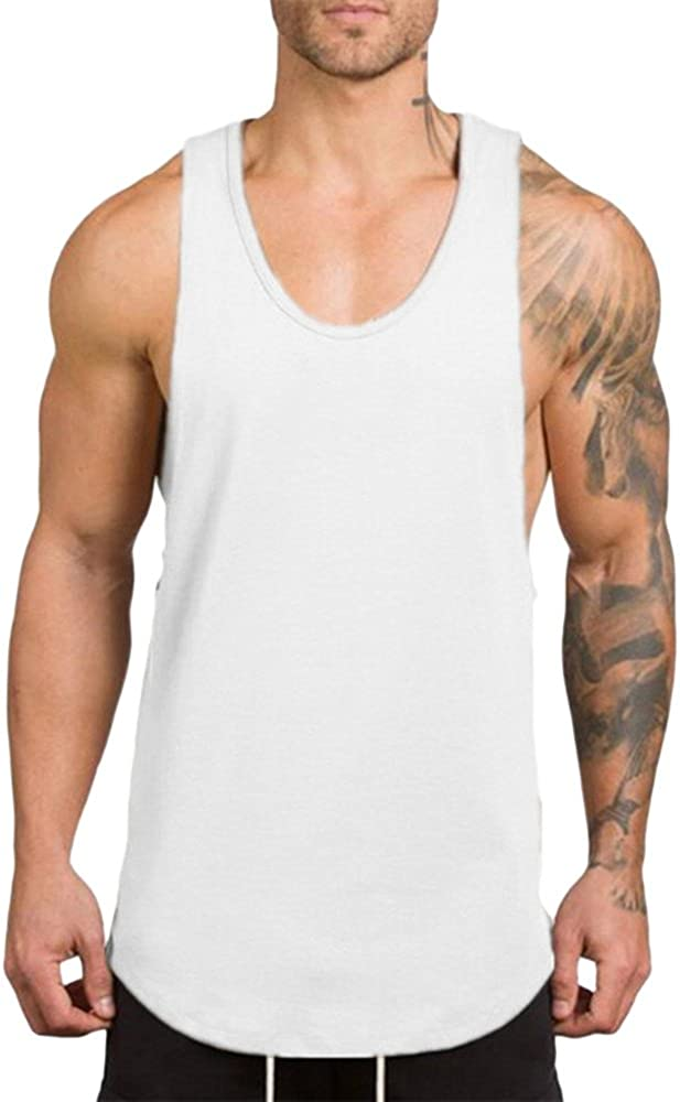 Asibeiul Men's Gym Fitness Muscle Sleeveless Vest Tank Top Casual Bodybuilding Blouse Singlet T-Shirt Solid Color Summer