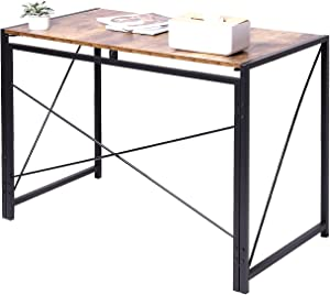 Hanekuc Folding Portable Office Desk,40 Inch Writing Computer Desk Space Saving No Assembly Required, Brown
