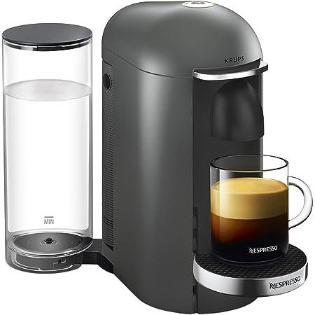 Krups Vertuo Plus titane Machine expresso, Nespresso, Machine à café, Cafetière expresso, 5 tailles de tasses, 1,8L, Capsule de café, Espresso YY2778FD