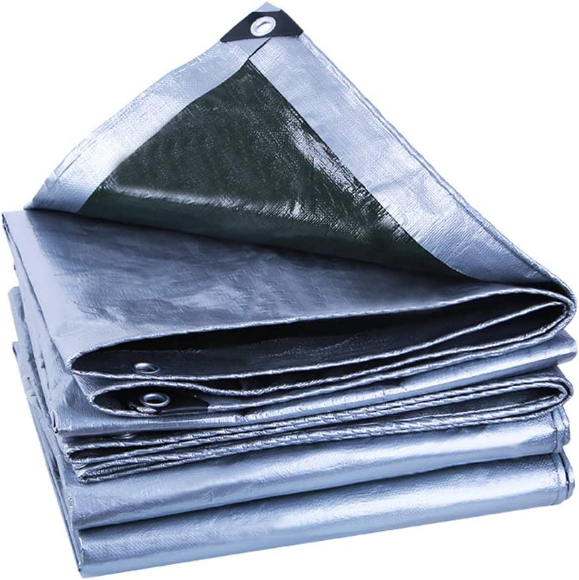 Tarp Cover Silver Waterproof tarp Heavy Duty Multi-Purpose Tarpaulin for Garden Car Furniture Canopy Tent by WONDERHOO (2.8m x 3.8m, Silver)
