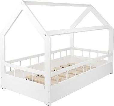 Cama infantil en forma de casa dosel para ninos 160x80 + protección (color: blanco)