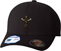 Custom Flexfit Baseball Cap Totem Pole Embroidery Design Polyester Hat Elastic