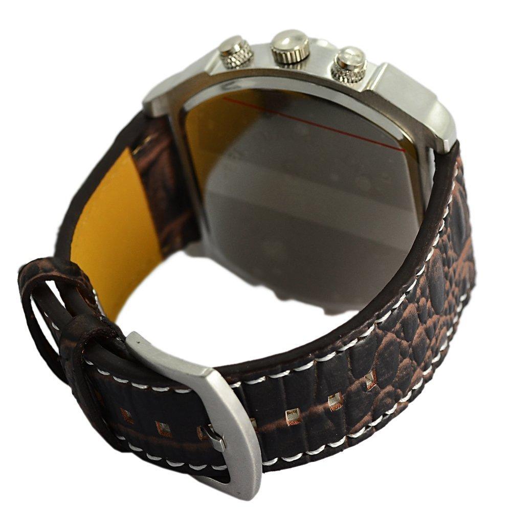 Compass Outdoor Sports Watches Analog Dark Brown Leather Strap Four Sub-dials Men Watch