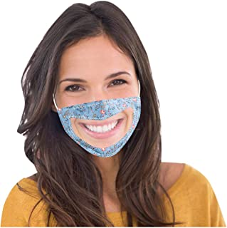 Adults Transparent Face Cotton Protection Bandana Smile Communicator Window Visible Mouth Anti-Dust Waterproof Balaclava Scarf Neck Gaiter for Outdoors Cycling Fishing Festivals,Blue