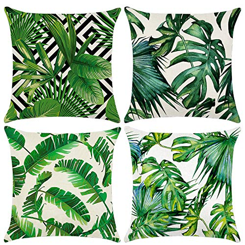 Cushion Covers 45 x 45 cm,Set of 4 pillow cover Cotton and Linen Pillow case Cushion Covers for Sofa outdoor garden bed couch cushions(Leaf-4)