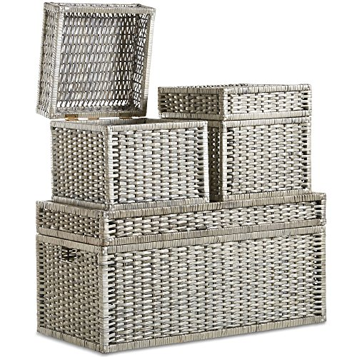 VonHaus Woven Wicker Storage Trunks Chest