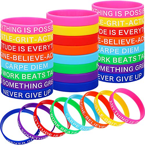 Gejoy Motivational Silicone Wristbands Multicolored Rubber Bracelets Stretch Bracelets with Inspirational Messages, 8 Styles (48 Pieces)