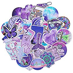 Roberly Cute Purple Stickers, 50 Pack Trendy VSCO Stickers Waterproof Water Bottle Stickers Laptop Stickers for VSCO Teen Girls Kids Guitar Skateboards Skate Stickers Unique Color