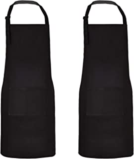 Sevenstars 2 Pack 100% Cotton Cooking Aprons with Pockets, Black Theme Kitchen Aprons Adjustable Baking Aprons for Men Women Couple Chef