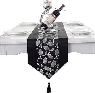 Hecho a mano gris de la hoja de cama de la boda de la borla del damasco corredor de la tabla clubking, negro, 33 * 210cm(12.5