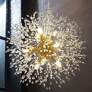 Goomavi Modern Firework Gold Crystal Chandelier ,Sputnik Dandelion Chandelier Pendant Lighting, Ceiling Hanging Light Fixture for Dining Room,Living Room,Bedroom,Kitchen,Restaurant- 9 Lights