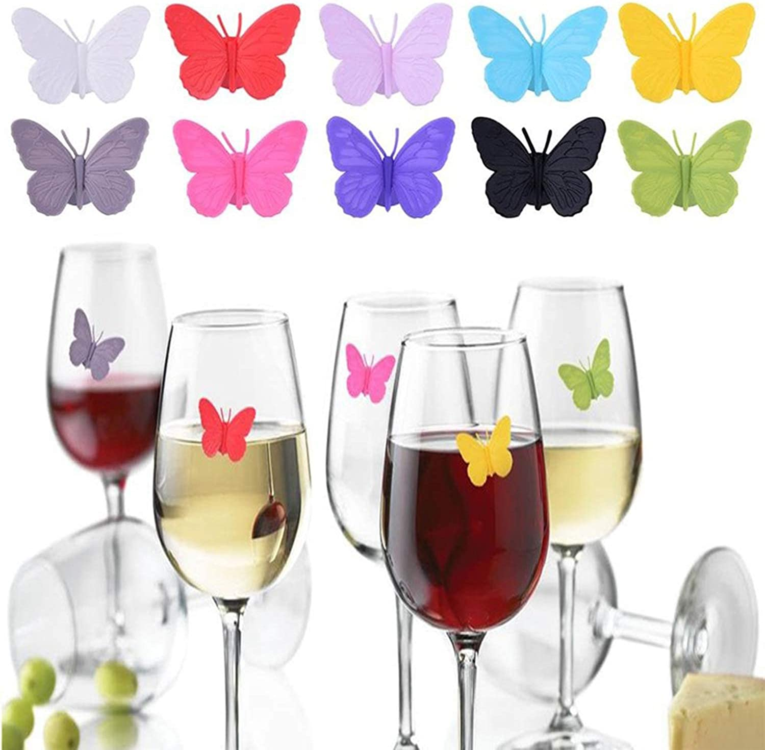 cheap YouU 10pcs Party Butterfly Glass Gla Silicone Markers Wine Funny Attention brand