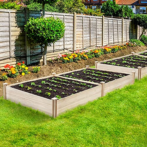 KINGSO Raised Garden Bed Boxes 8×4FT Elevated Wood Garden Planter Box Large Outdoor Wooden Planter Garden Raised Beds Kit for Vegetable Flower Herb Gardening Backyard Patio Natural