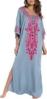 Vestido de Playa Kaftan Kimonos Pareos Bohemia Cover Ups para Mujer