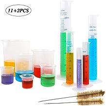 SUPERLELE 5pcs Plastic Graduated Cylinder Set 10, 25, 50, 100, 250ml and 6pcs Plastic Beaker Set 25, 50, 100, 250, 500, 1000ml with 2 Brushes