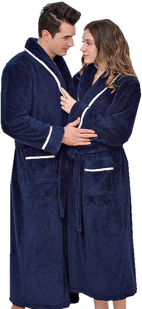 KKING Mens Womens Dressing Gown Fluffy Super Soft Shawl Collar Bathrobe for Women Plush Fleece Loungewear Long Robe
