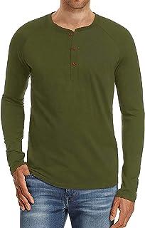 f264a783 PEGENO Men's Casual Slim Fit Short Sleeve Henley T-shirts Cotton Shirts