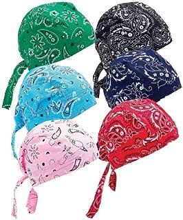 6 Assorted Designs Skull Caps Paisley Bandanna Biker Skull Hat Caps