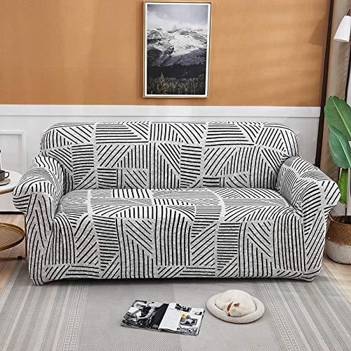 Funda de Sofá 3 Plazas,Jacquard Poliéster Funda Sofa Elasticas Suaves Resistentes Sofa Antideslizante, Cubierta para Sofa Protector-Líneas Blancas, Negras