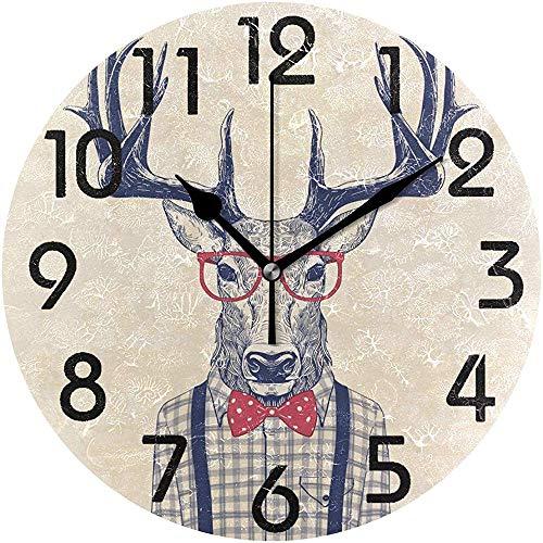 Cy-ril Cerf habillé Frais avec des Lunettes de Noeud Papillon Imprimer Horloge Murale Ronde fonctionnant sur Batterie Horloge de Bureau Calme pour la Maison, Le Bureau, l'école