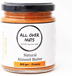All Over Nuts Natural Almond Butter, 200 gm Creamy (Gluten Free, Vegan)