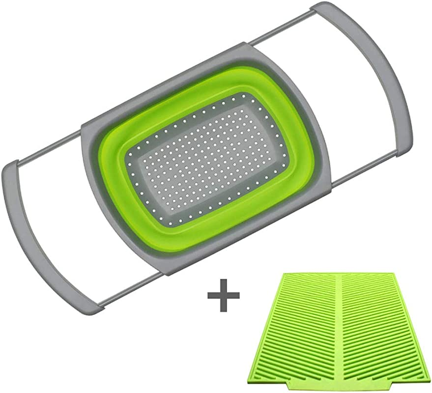Colander Collapsible And Kitchen Mat Set Foldable Strainer With Extendable Handles Dish Mat Green