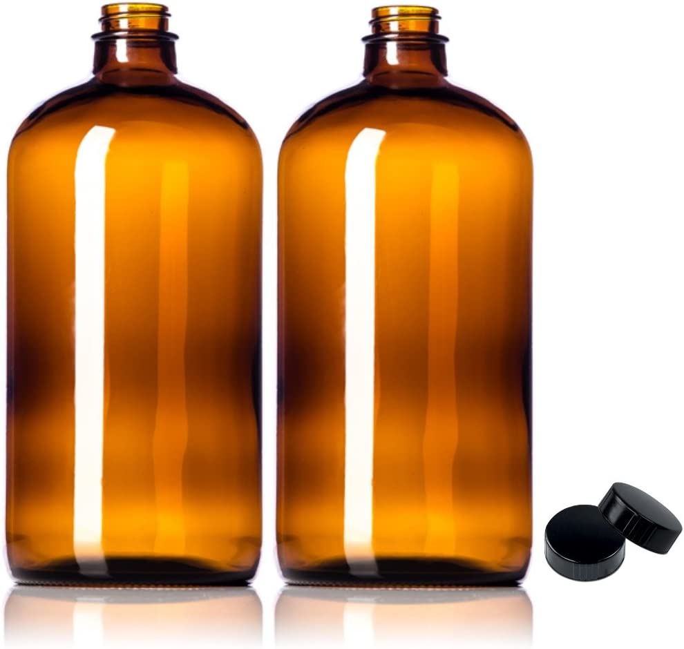 2 Pack ~ 32oz Amber Glass Growlers with a Ranking Houston Mall TOP11 for Lids Polycone Tigh