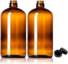 2 Pack ~ 32oz Amber Glass Growlers with Polycone Lids for a Tight Seal - Perfect for Secondary Fermentation, Storing Kombucha, Homemade Cleaning Products, Traveling or a One Liter Glass Beer Growler