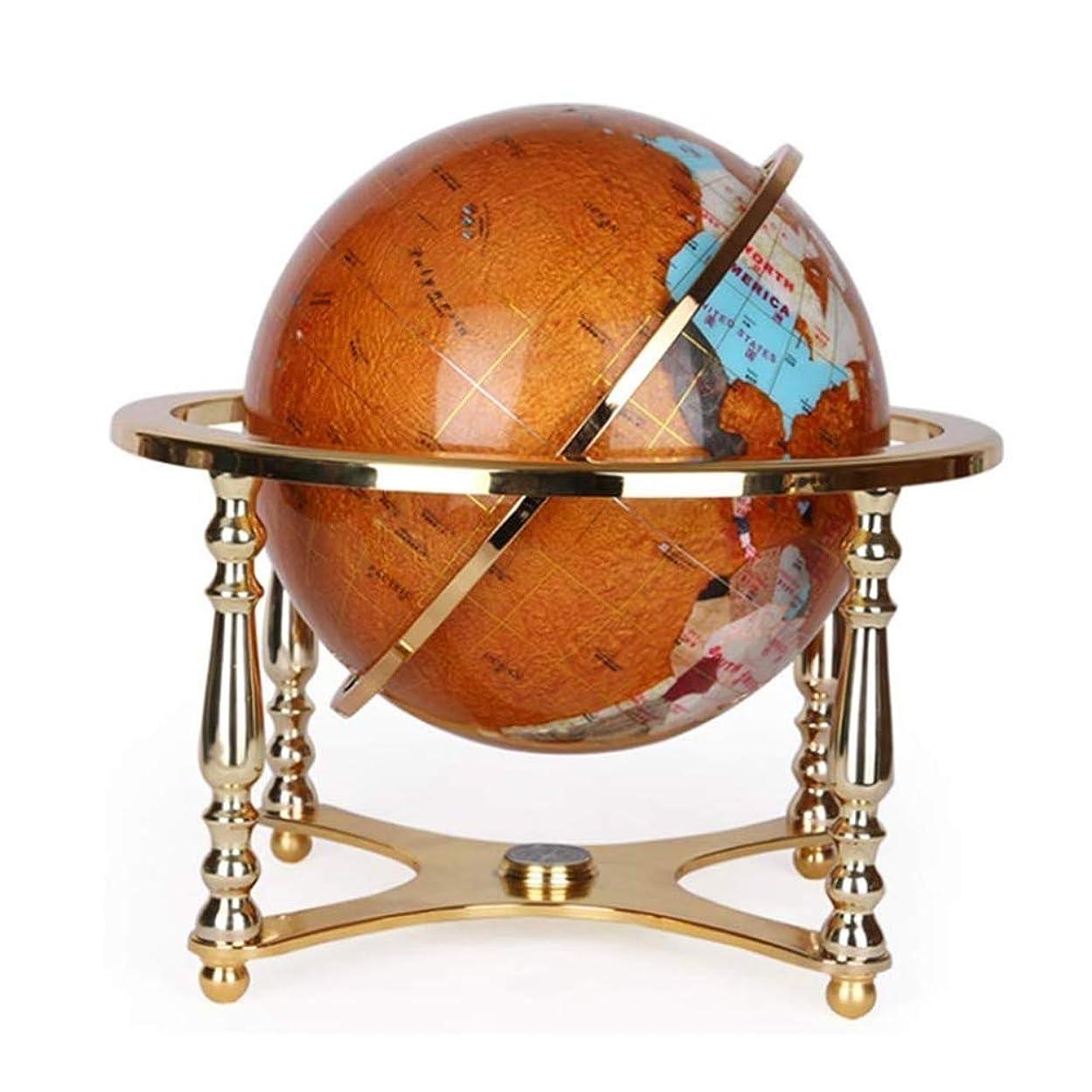 ヘルシーマイク統計球地図デスクトップアンティーク装飾世界世界ロータリー地理学グローバル合金ベース、天然石、13インチ