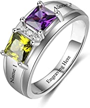 Lam Hub Fong Personalized Sterling Silver Mothers Ring 2 Simulated Birthstone Free Engraving Promise Rings for Her Womens Engagement Rings Mother's Day Rings for Mom
