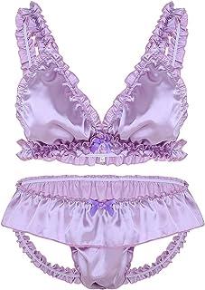 Alvivi Men's Frilly Satin Ruffle Bikini Bra with Skirted Thongs Briefs Sissy Crossdressing Lingerie Set