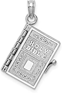14k White Gold 3 D Holy Bible Lords Prayer Moveable Pendant Charm Necklace Religious Fine Jewelry Gifts For Women For Her