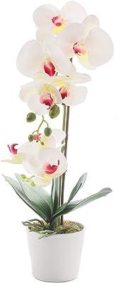 "GreenHouzz 19"" H Phalaenopsis Faux Orchid Plant Silk Orchid Centerpiece Artificial Floral Arrangement in Ceramic Pot (White)"