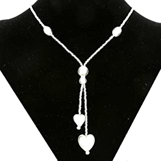 Murano Glass Heart Tie Necklace - Silver White