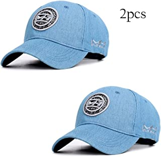 YOKST Pack Of 2 - Light Thin Embroidery Baseball Cap Men's Breathable Quick Drying Sports Cap Retro Style Adjustable Washed Sun Hat Ponytail Trucker Hat For Outdoor Travel (Color : Light blue)