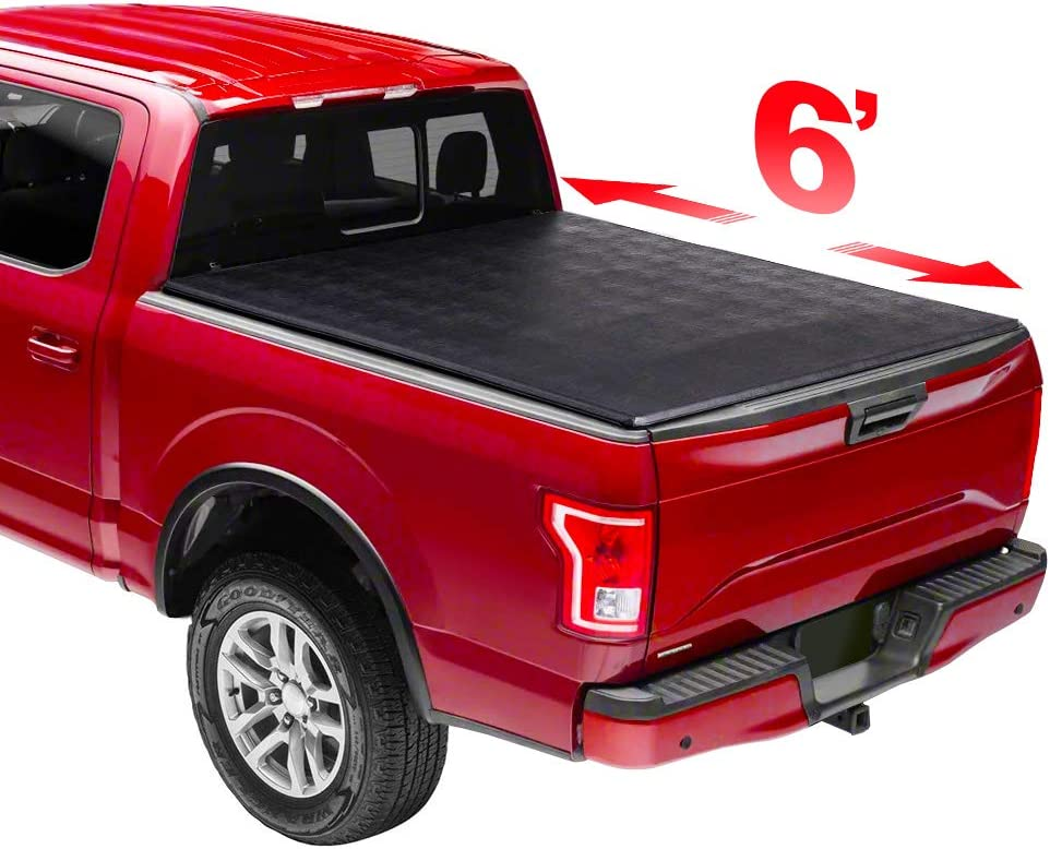 Kucaruce 6' Soft Trifold Tonneau Cover Proof Truck Snow Rain Max 75% OFF Bed Outstanding