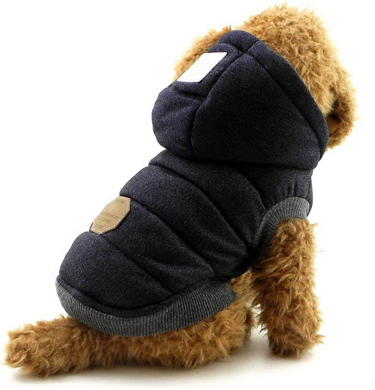 LLYU Dog Hoodie Winter Coat Dog cat Puppy Cotton Hooded Jacket Clothes bluee (Size   XL)
