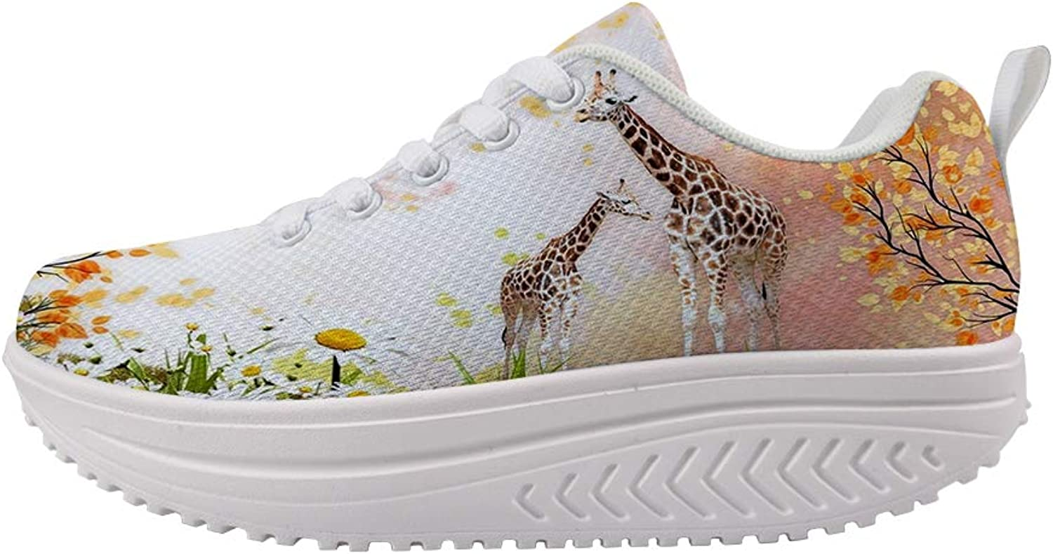 Owaheson Swing Platform Toning Fitness Casual Walking shoes Wedge Sneaker Women Giraffe Mum and Baby's Secret Garden