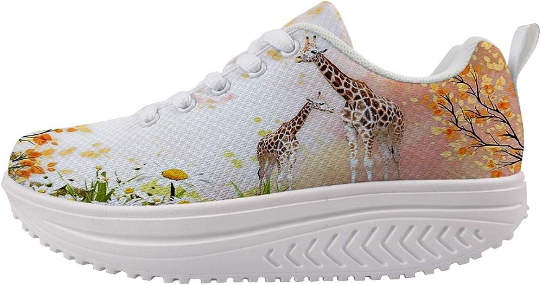 Owaheson Swing Platform Toning Fitness Casual Walking shoes Wedge Sneaker Women Giraffe Mum and Baby's Secret Garden