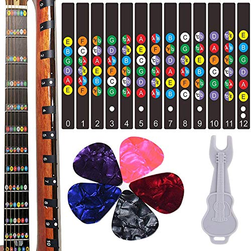 Guitar Fretboard Stickers, Kimlong Color Coded Note Decals Fingerboard Frets Map Sticker for Beginner Learner Practice Fit 6 Strings Acoustic Electric Guitars with 5 Guitar Picks & 1 Bridge Pin Puller