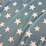 Stoff Meterware Wellness Petrol grün meliert Sterne weiß