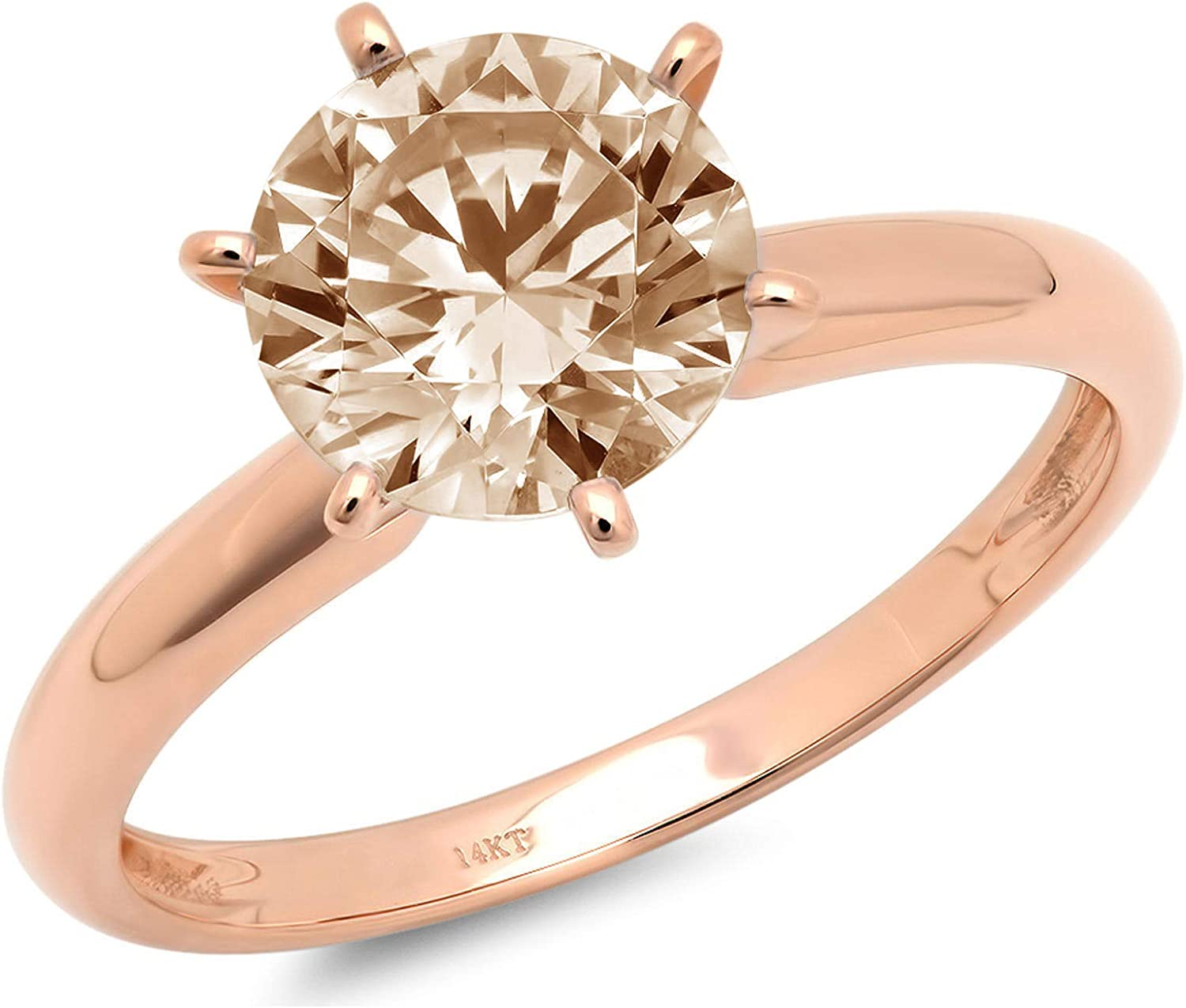 0.45ct Brilliant Round Cut Solitaire Brown Champagne Simulated Diamond CZ Ideal VVS1 D 6-Prong Classic Designer Statement Ring in Solid Real 14k rose gold for Women